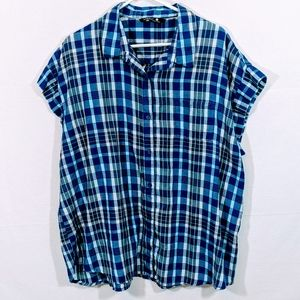 Riders by Lee Blue & White Button Down Blouse